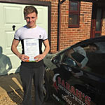 Ashley Beckett passed his driving test with Sarah Plows