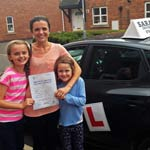 Becky Smith passed her driving test with Sarah Plows
