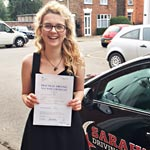 Charley Evans passed her driving test with Sarah Plows