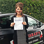 Chrissy Dixon passed her driving test with Sarah Plows