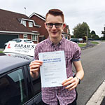 Declan Noble passed his driving test with Sarah Plows