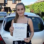 Ellie Crick passed her driving test with Sarah Plows