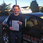 Fredde Palmer passed his driving test with Sarah Plows