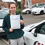 Hayley Watkins passed her driving test with Sarah Plows