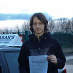 Jordan Farr passed his driving test with Sarah Plows