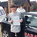 Kallem Gilbert passed his driving test with Sarah Plows