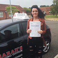 Kasey Browett passed her driving test with Sarah Plows