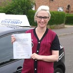 Laura Smith passed her driving test with Sarah Plows