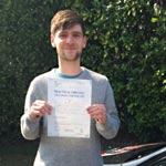 Max Knight passed his driving test with Sarah Plows