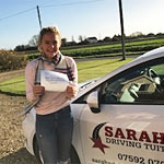 Nina Halgarth passed her driving test with Sarah Plows