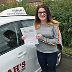 Samantha Dundee passed her driving test with Sarah Plows