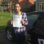 Seeta Maher passed her driving test with Sarah Plows