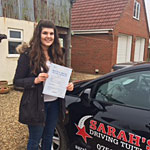 Zoe Chappell passed her driving test with Sarah Plows